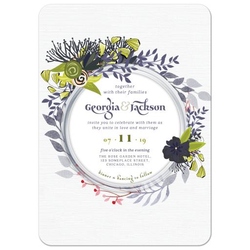 Blue Green Exotic Flowers Wedding Invitation