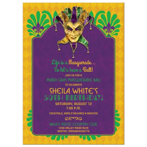 Purple, green, and gold Mardi Gras Masquerade Ball 50th birthday party invitation front