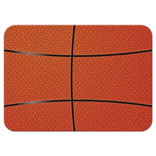 Sports blue and orange jersey basketball Bar Mitzvah reception insert card back