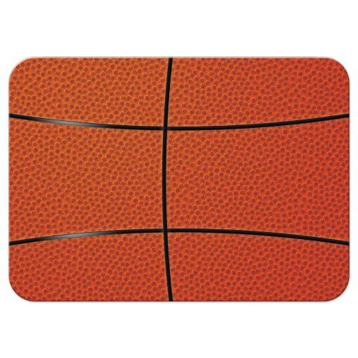 Sports blue and orange jersey basketball Bar Mitzvah RSVP card back