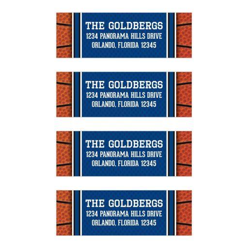 Sports blue and orange jersey basketball Bar Mitzvah return address mailing labels