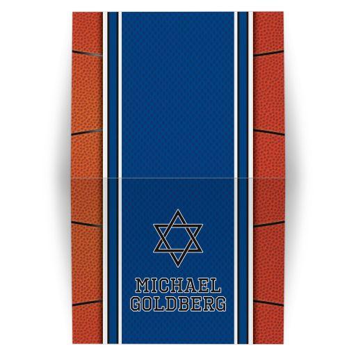 Sports blue and orange jersey basketball Bar Mitzvah thank you card