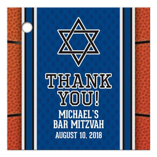 Sports blue and orange basketball Bar Mitzvah favor tags front