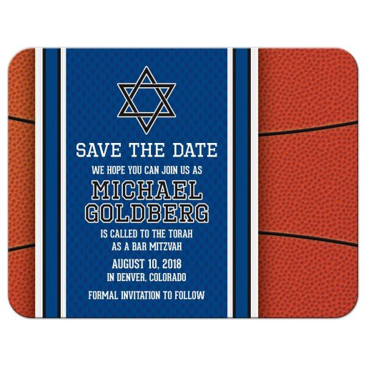 Sports blue and orange basketball Bar Mitzvah save the date announcement front