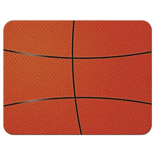 Sports blue and orange basketball Bar Mitzvah save the date announcement back