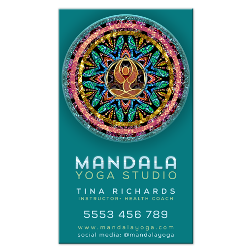 Gold Yoga Goddess Colorful Mandala Teal Business Card