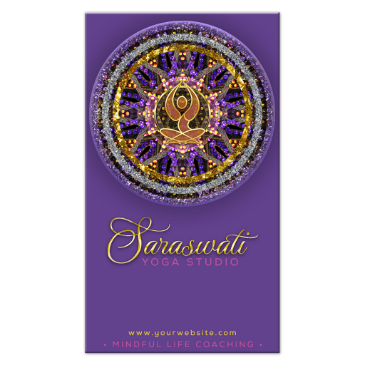 Mandala Yoga Goddess Purple and Gold Business Card