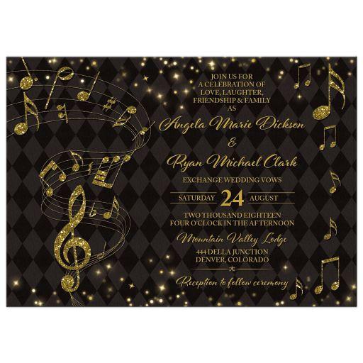 Elegant black and gold harlequin music wedding invitation front