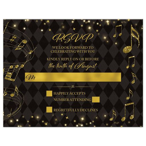 Elegant black and gold harlequin music wedding RSVP card front