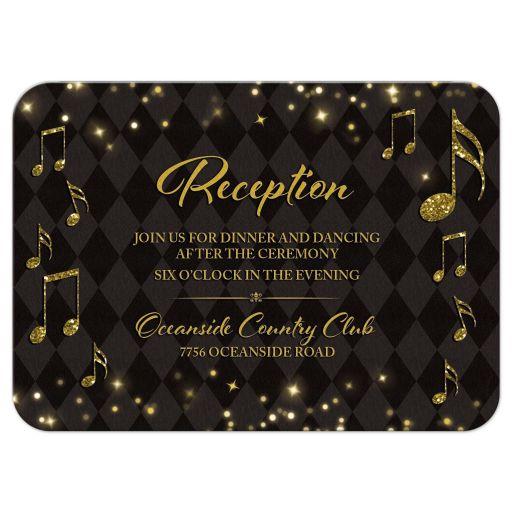 Elegant black and gold harlequin music wedding reception card front
