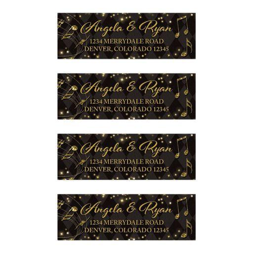 Elegant black and gold harlequin music wedding address labels