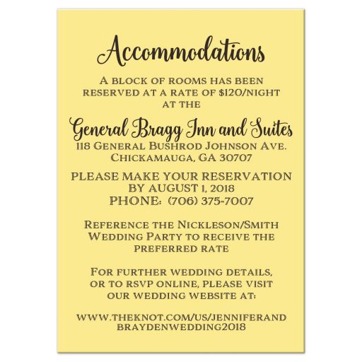 Rustic wedding accommodations enclosure card inserts with brown wood, mason jars, string lights and ivory, yellow, and orange flowers, foliage, and feathers for an autumn bohemian wedding.