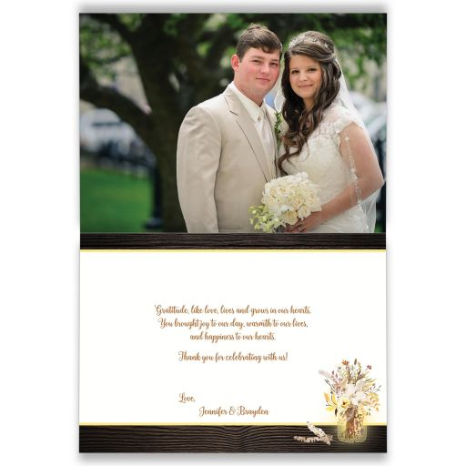 Rustic Brown, Yellow, Ivory, Orange Floral, String Lights, Mason Jars on Simulated Wood wedding thank you card with photo template.