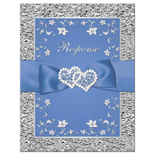 Cornflower or periwinkle blue and silver grey gray wedding response cards with flowers, ribbon, bow, jewels, glitter, joined hearts.
