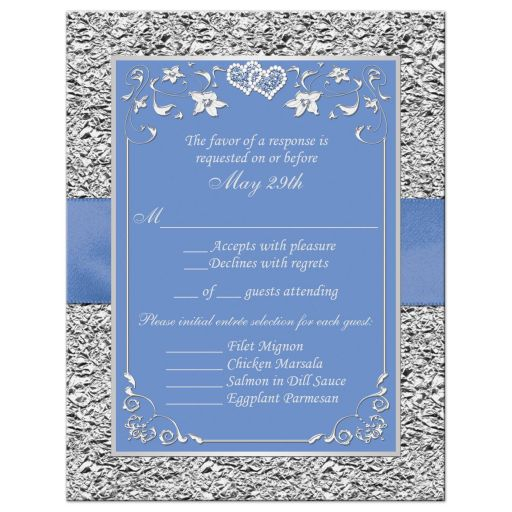 Cornflower or periwinkle blue and silver grey gray wedding RSVP enclosure card insert with flowers, ribbon, bow, jewels, glitter, joined hearts.