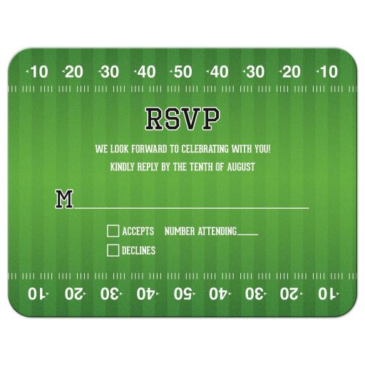 Green and white American football field Bar Mitzvah RSVP card front