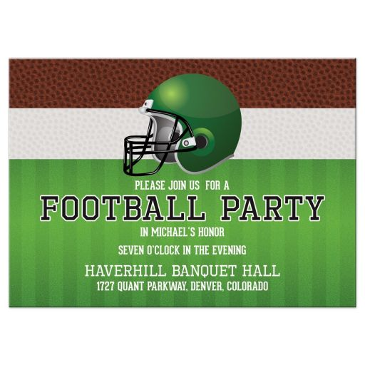 Brown, green, black, and white American football Bar Mitzvah reception card front