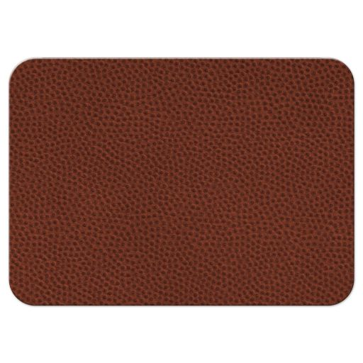 Brown, green, black, and white American football Bar Mitzvah reception card back
