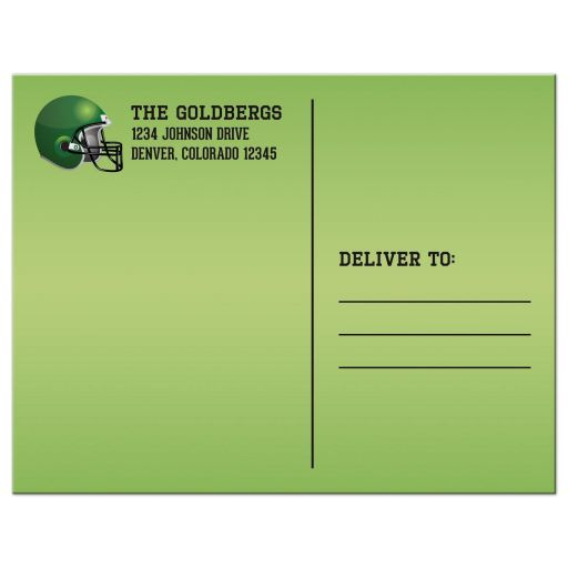 Brown, green, black, and white American football Bar Mitzvah save the date postcard back