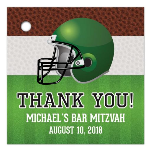 Brown, green, black, and white American football Bar Mitzvah favor tags front