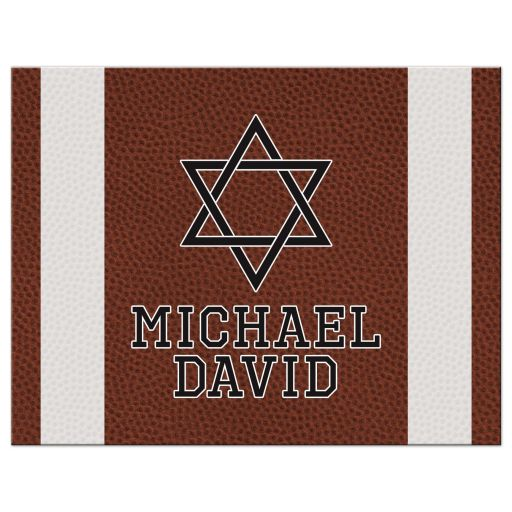 Brown, green, black, and white American football Bar Mitzvah personalized flat thank you card front