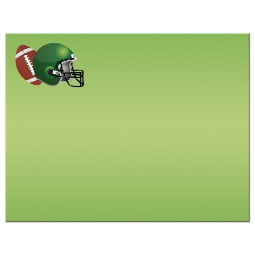 Brown, green, black, and white American football Bar Mitzvah personalized flat thank you card back