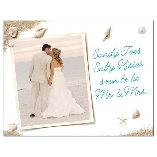 Sandy Toes Salty Kisses, soon to be Mr. & Mrs. Wedding Save the Date Postcard with turquoise type and photo