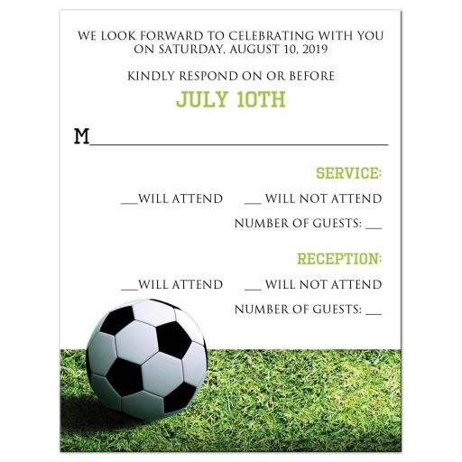 Soccer ball World Cup football Bar or Bat MItzvah RSVP reply response card with green grass, black and white soccer ball, and Star of David.