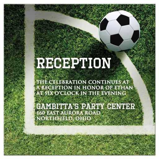 Green Black White Soccer Ball on Grass World Cup Soccer Bar Mitzvah Reception Card
