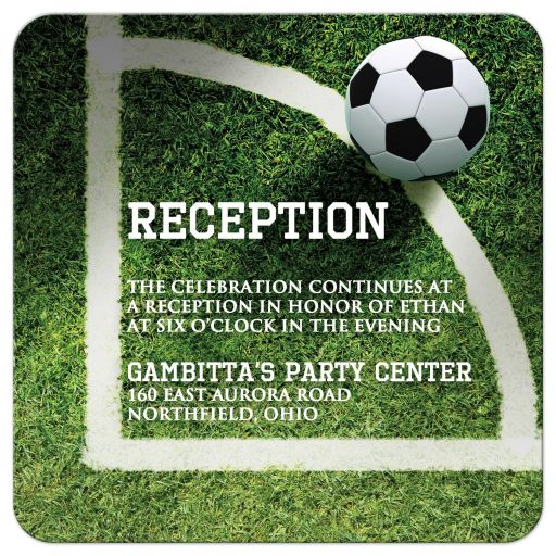 Soccer or World Cup football theme Bar or Bat Mitzvah reception invitation card with soccer field and black and white soccer ball.