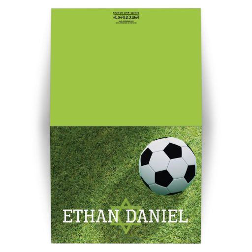 Green Black White Soccer Ball on Grass World Cup Soccer Bar Mitzvah Personalized Thank You Cards