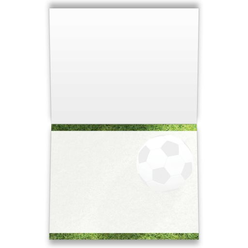 personalized soccer them or World Cup football Bar or Bat Mitzvah folded thank you card has a black and white soccer ball on a grass field along with a name and Star of David.