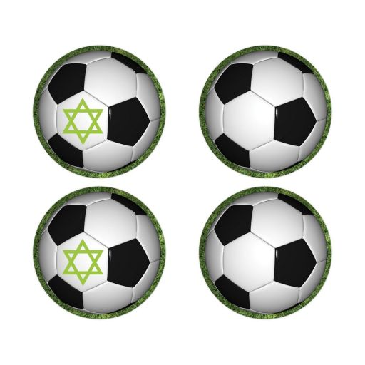 Green Black White Soccer Ball on Grass World Cup Soccer Bar Mitzvah Envelope Seals or Stickers