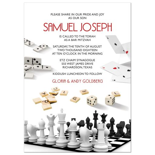 Board game Bar Mitzvah invitation with dominoes, chess, playing cards, and dice