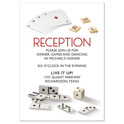 Board game Bar Mitzvah reception card with dominoes, playing cards, and dice