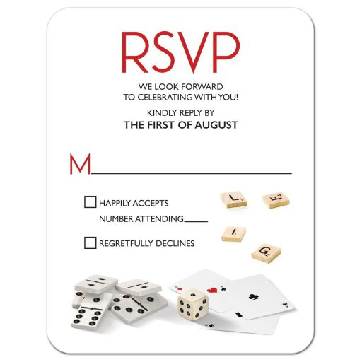 Board game Bar Mitzvah RSVP card with dominoes, playing cards, and dice