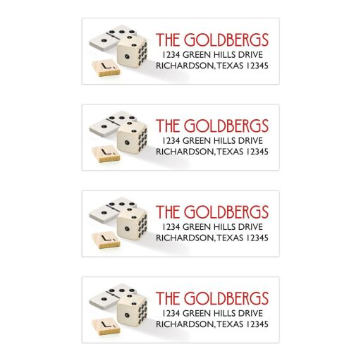 Board game Bar Mitzvah return address labels with dominoes and dice