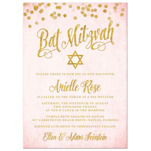 Blush Pink & Gold Bat Mitzvah Invitations by The Spotted Olive - Front