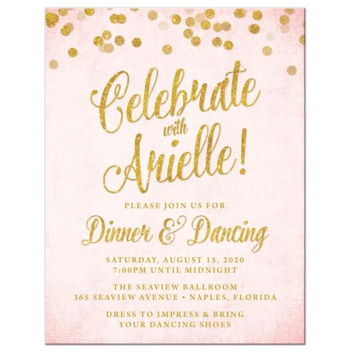 Blush Pink & Gold Bat Mitzvah Reception Cards by The Spotted Olive - Front