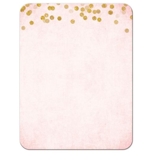 Blush Pink & Gold Bat Mitzvah Reception Cards by The Spotted Olive - Back