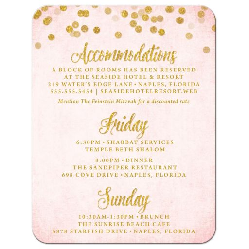 Blush Pink & Gold Bat Mitzvah Details Cards by The Spotted Olive - Front