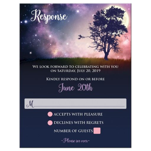Written in the Stars wedding response, reply, RSVP card with night sky, stars, tree, and full moon.