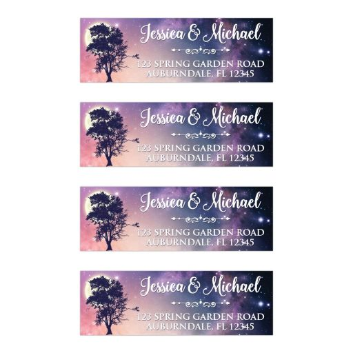 Written in the Stars wedding return address mailing labels with night sky, stars, tree, and full moon.