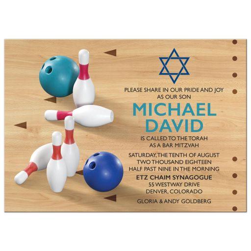 Bowling pins, bowling ball, bowling alley bowling Bar Mitzvah invitation