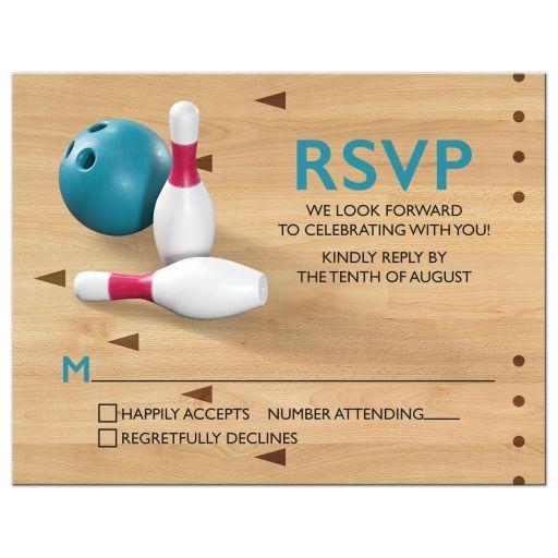 Bowling pins, bowling ball, bowling alley bowling Bar Mitzvah RSVP card