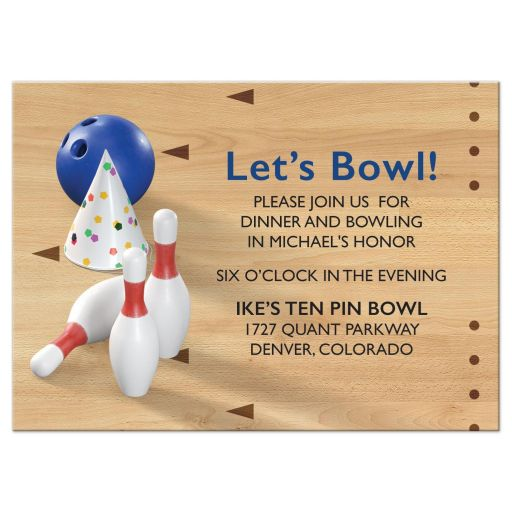 Bowling pins, bowling ball, bowling alley bowling Bar Mitzvah reception insert card