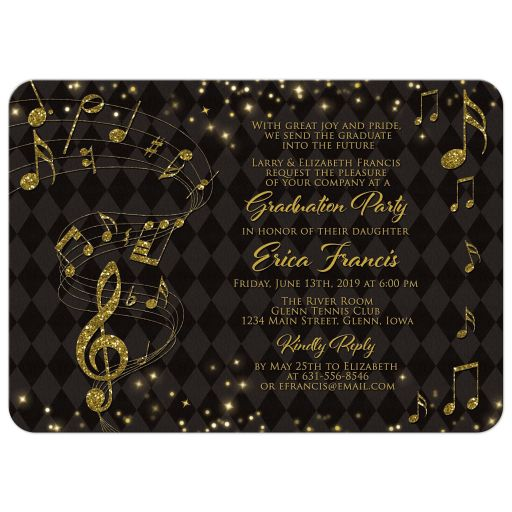 Black gold harlequin music notes music graduation party invitation front