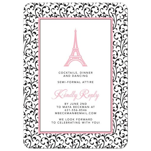 Chic Eiffel Tower or Paris themed pink, black and white graduation party invitation back