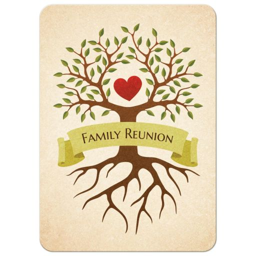 Family reunion invitations with beautiful tree and heart