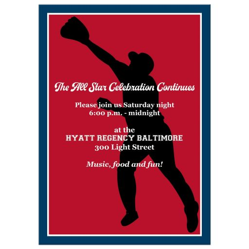 Baseball or Softball theme magazine cover Bar Mitzvah invitation in red, white, and blue.